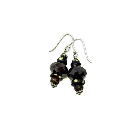 Dangle,Earrings,with,Dyed,Bone,and,Glass:,Côte,d'Ivoire,dark brown and silver dangle earrings, delicate bone dangle earrings, handmade dangle earrings, beaded bone and glass earrings, silver hook earrings, african inspired earrings