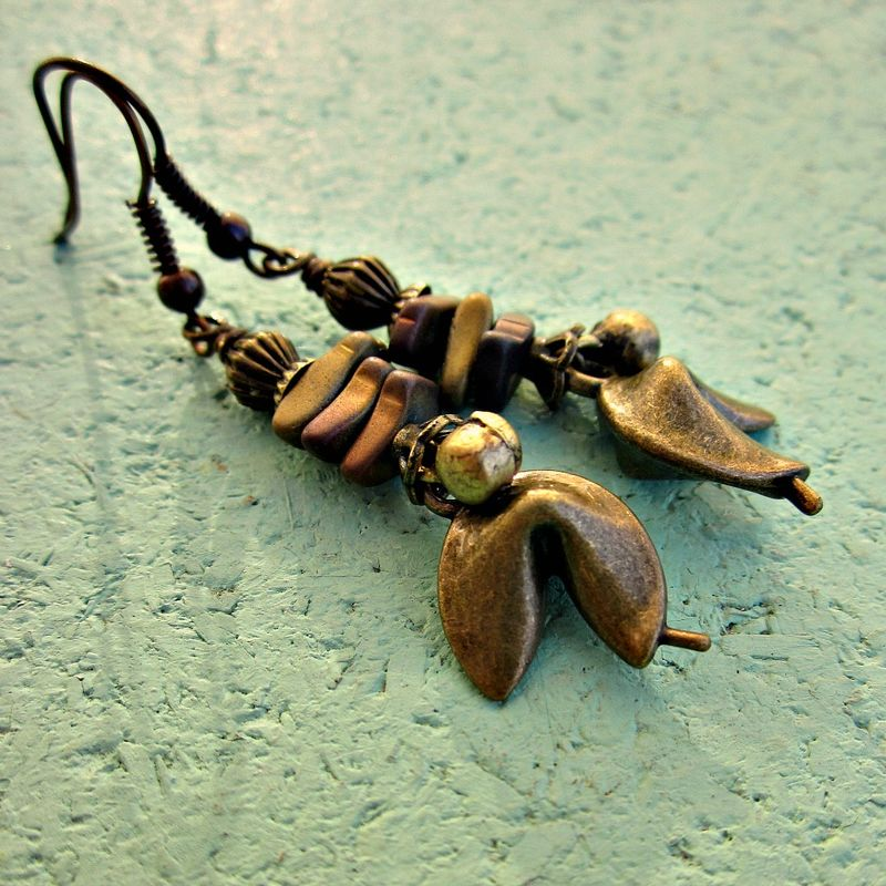 Hematite Stone Chip and Rustic Brass Fortune Cookie Dangle Earrings: Takeout - product images  of