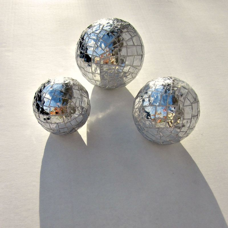 Paper Mache Mirrored Mosaic Decor Accent Balls, Set of Three - product images  of
