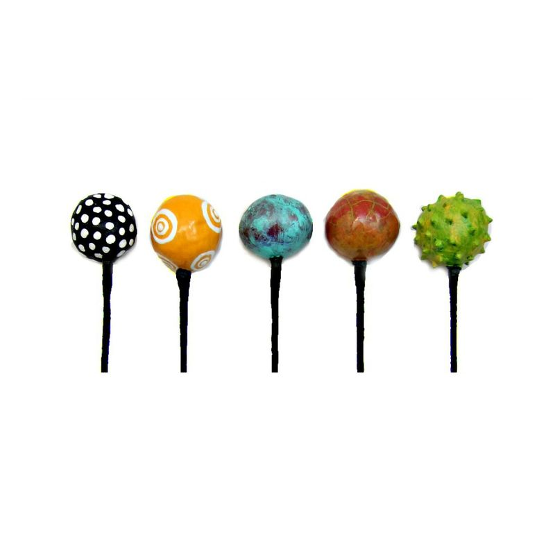 Set of Five Colorful Paper Mache Floral Pick Style Balls on Stems Recycled Decor: State Fair - product images  of