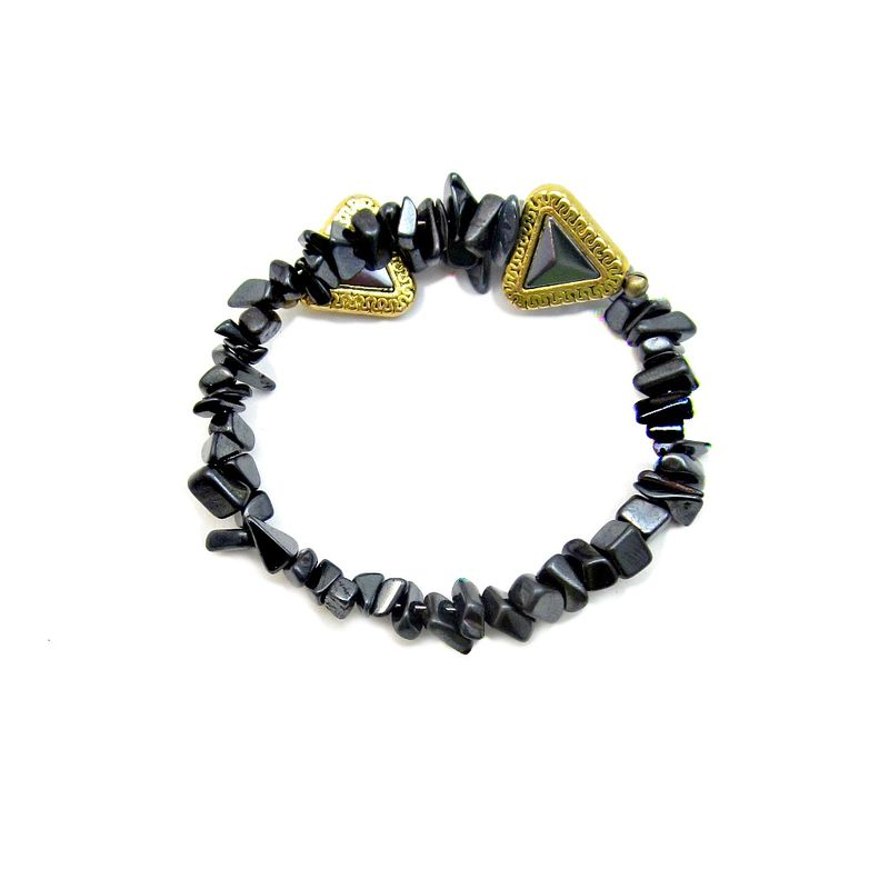 Adjustable Hematite Chip Beaded Cuff Bracelet: Elene - product images  of