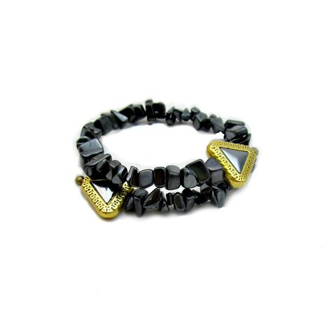 Adjustable,Hematite,Chip,Beaded,Cuff,Bracelet:,Elene,adjustable hematite bracelet, flexible beaded bracelet, non-magnetic hematite jewelry, hematite and gold bracelet, flexible stone chip cuff bracelet, simple cuff bracelet, hematite chip jewelry