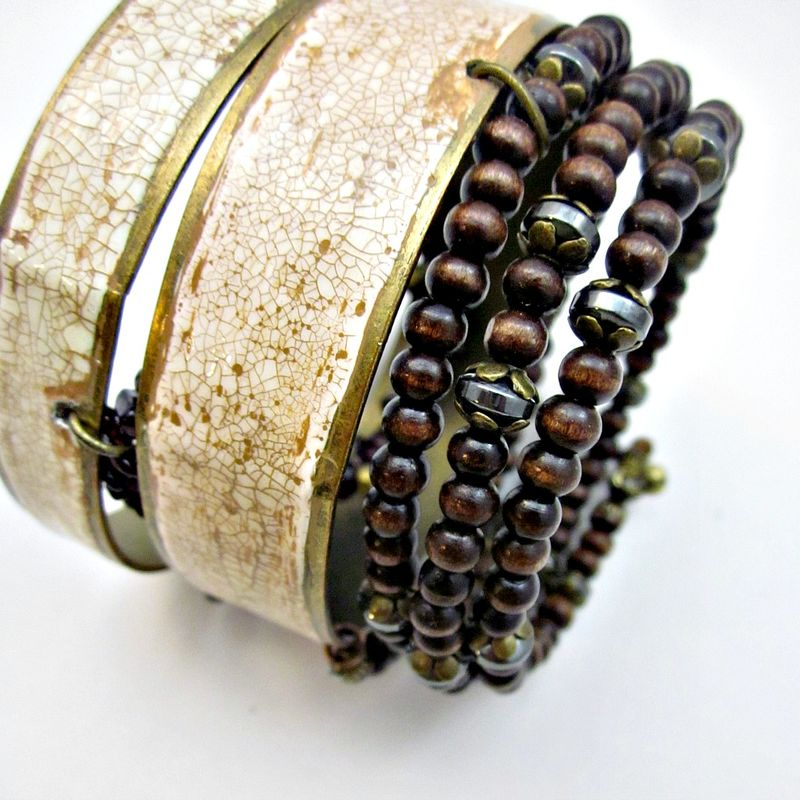 Set of Two Crackled Painted Brass Bangles with Beaded Bracelets: Wingbeat - product images  of