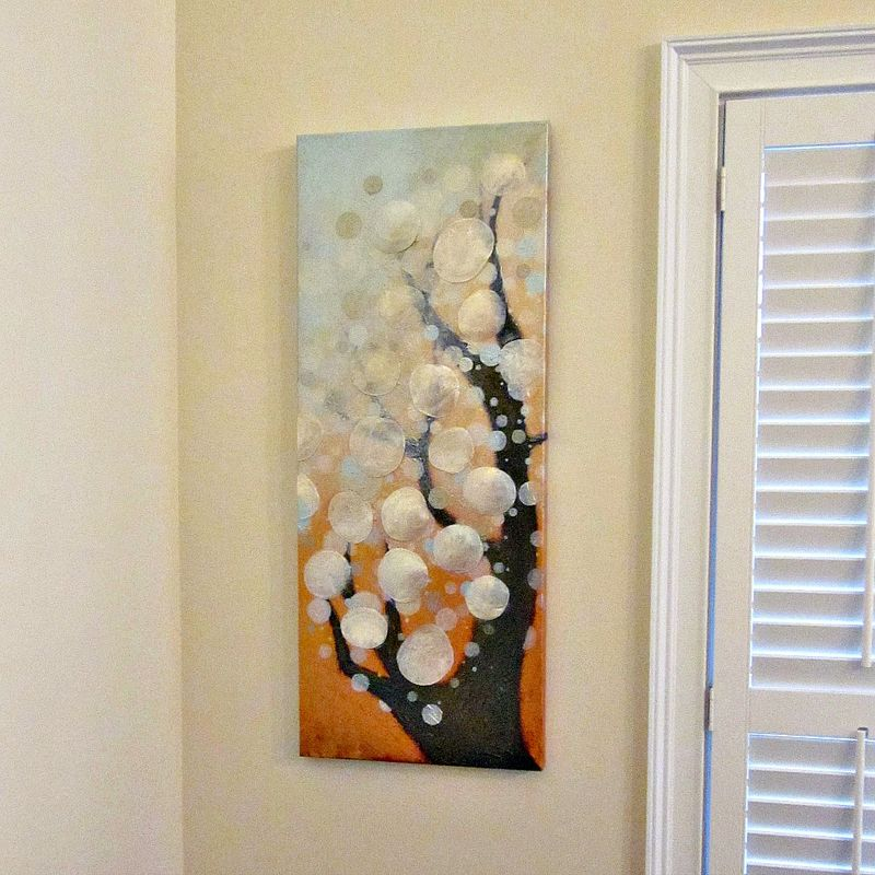 Original Acrylic Abstract Bokeh Tree Painting on Canvas with Capiz Shells: A Certain Hour - product images  of