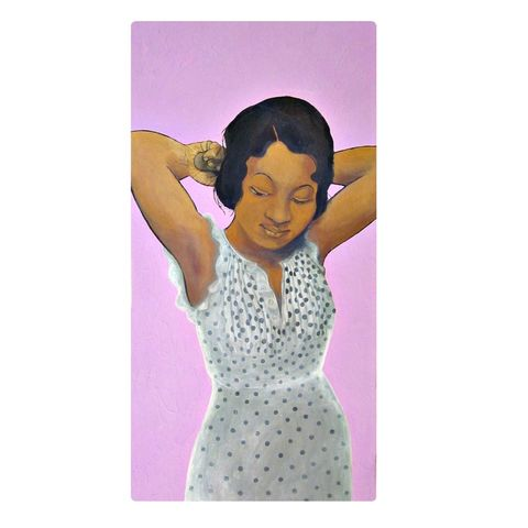 Original,Acrylic,Painting,of,a,Retro,African,American,Woman,on,Canvas:,Meta,Lula,original painting of a black woman, acrylic painting, painting on canvas, painting of a woman, retro woman painting, african american painting, woman doing hair painting, period painting