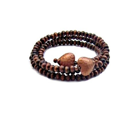 Adjustable,Dark,Wood,Beaded,Wrap,Bangle,with,Hammered,Copper,Heart,Accents:,Crush,adjustable wood bead bracelet, wood beaded memory wire bracelet, wood bangle bracelet, wood and rustic copper heart bracelet, handmade wood bracelet, hammered heart jewelry, valentine bracelet