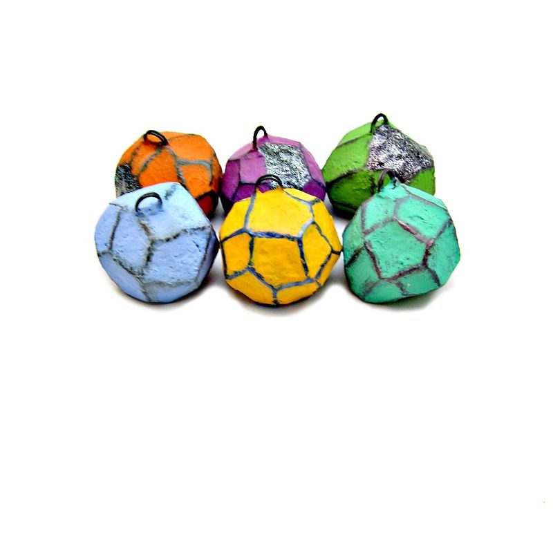 Colorful Faceted Paper Mache Nugget Placecard Note Picture Holder Set: Equinox - product images  of