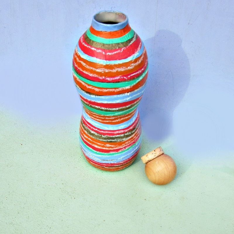 Colorful Striped Paper Mache Bottle with Wood Cork Stopper: Wave Vessel #2 - product images  of