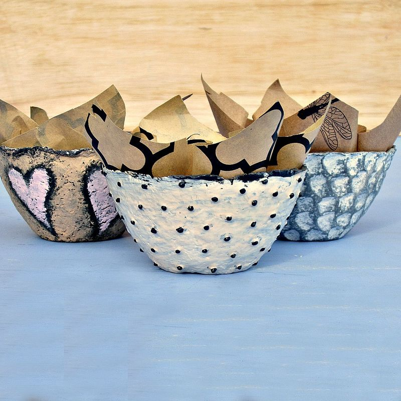 Set of Three Neutrals Handmade Mini Paper Mache Bowls - product images  of