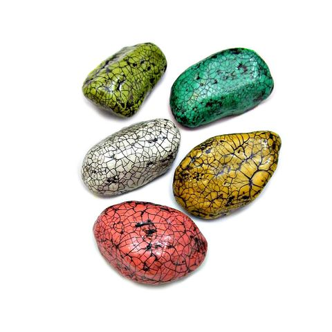 Paper,Mache,Colorful,Crackled,Pebble,Magnet,Set,,Five,Recycled,Decor,Magnets:,Painted,Stones,handmade paper mache magnets, handmade papier mache stones, painted stones, garden stone magnets, colorful modern magnets, crackled stone paper mache magnets, paper mache home accents, eco friendly decor