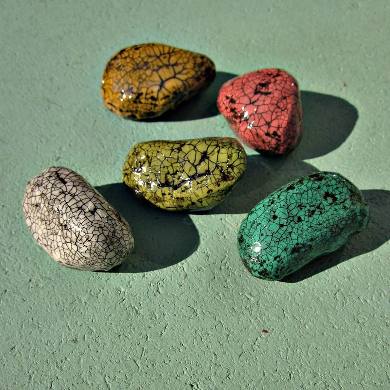 Paper Mache Colorful Crackled Pebble Magnet Set, Five Recycled Decor Magnets: Painted Stones  - product images  of
