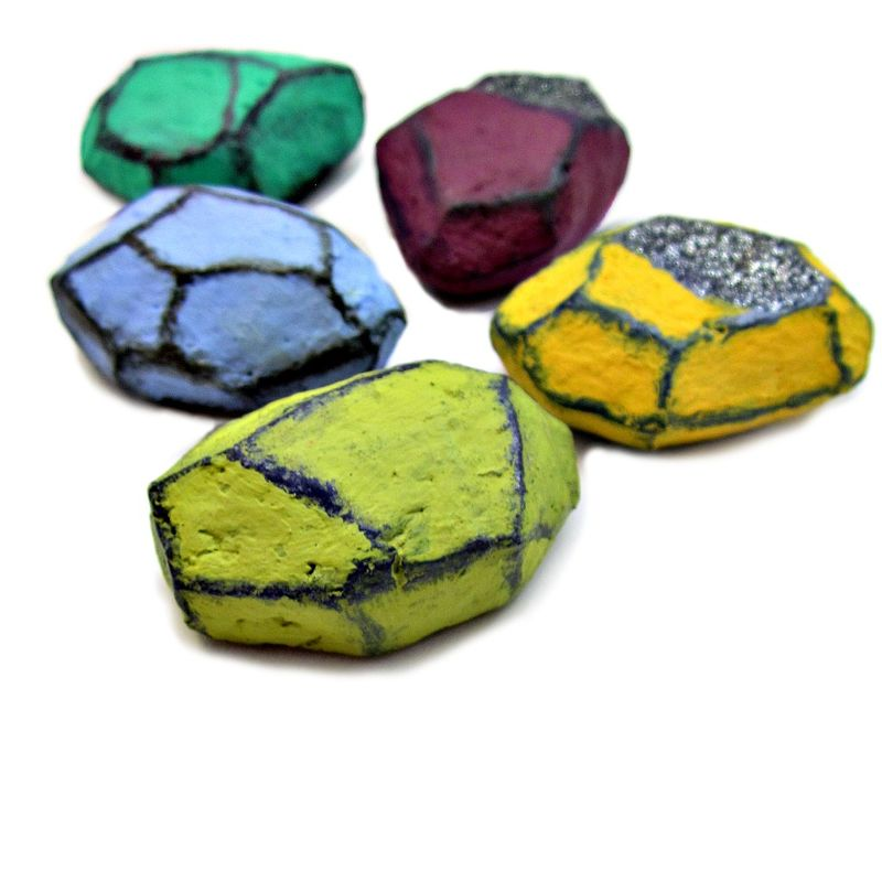 Colorful Faceted Paper Mache Nugget Magnet Set, Five Recycled Decor Magnets - product images  of