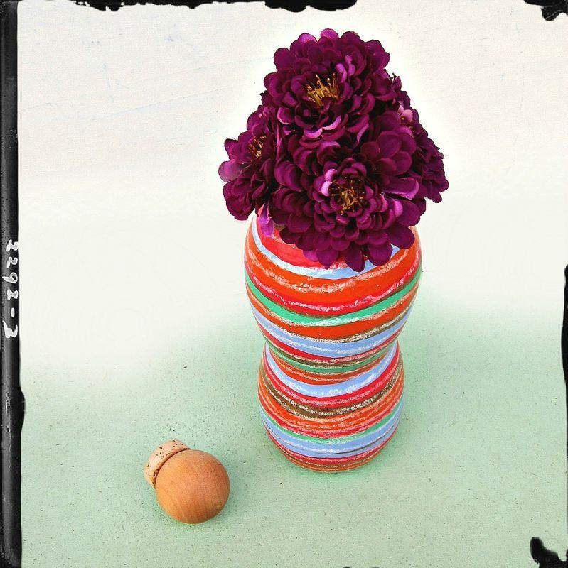 Shop Towels Paper Mache: Colorful Striped Paper Mache Bottle With Wood Cork Stopper