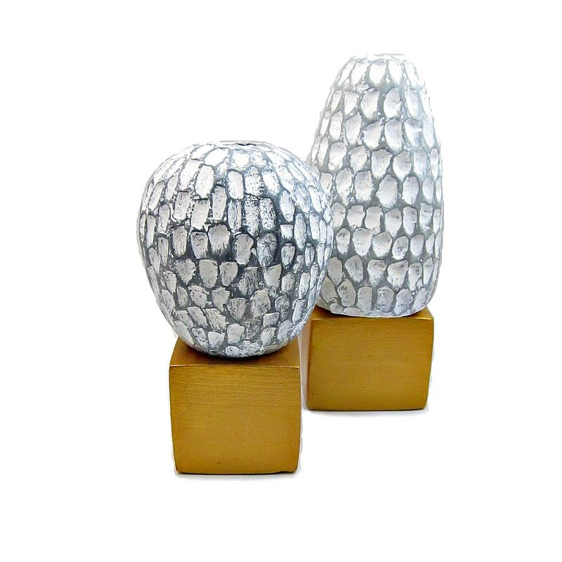 White and Gray Paper Mache Wet Vases on Bright Gold Bases: Creek Bed Series - product images  of