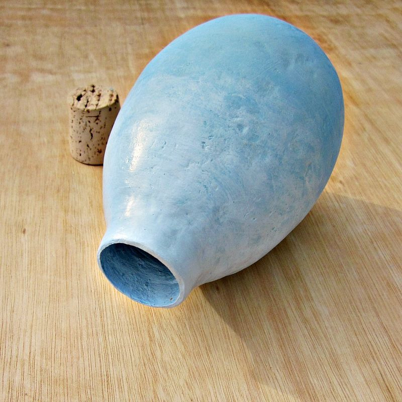 Light Blue Paper Mache Bottle Wet Vase with Cork Stopper: Haze - product images  of