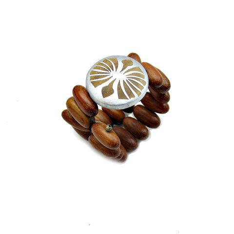 Flexible,Wood,Beaded,Bracelet,with,Embellished,Focal,Dial:,Cape,Verde,beaded wood statement bracelet, flexible wood wrap bracelet, adjustable wood beaded memory wire bracelet, brown and silver beaded wood bracelet