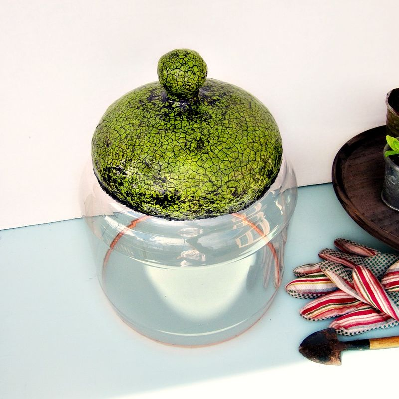 Handmade Crackled Green Paper Mache and Plastic Cloche Jar: Sylvia - product images  of