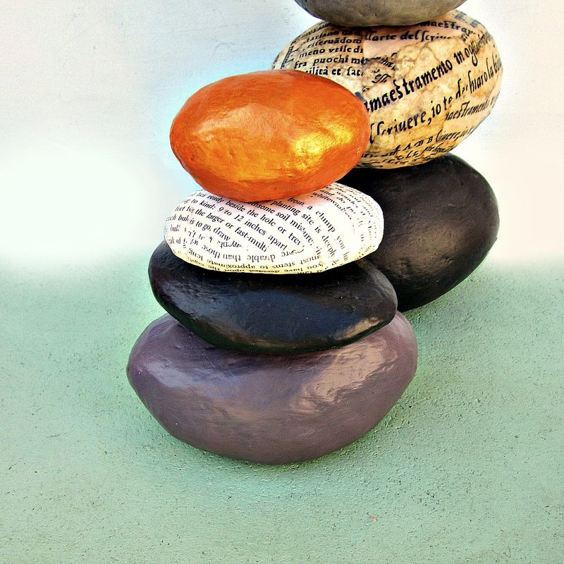 Paper Mache Rock Stack Cairn Sculpture Decor: Water  - product images  of