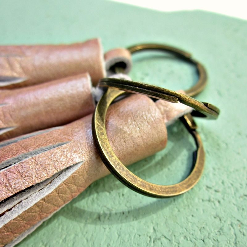 Rustic Brass Keyring with Chunky Pink Handmade Leather Tassel: Sydney - product images  of