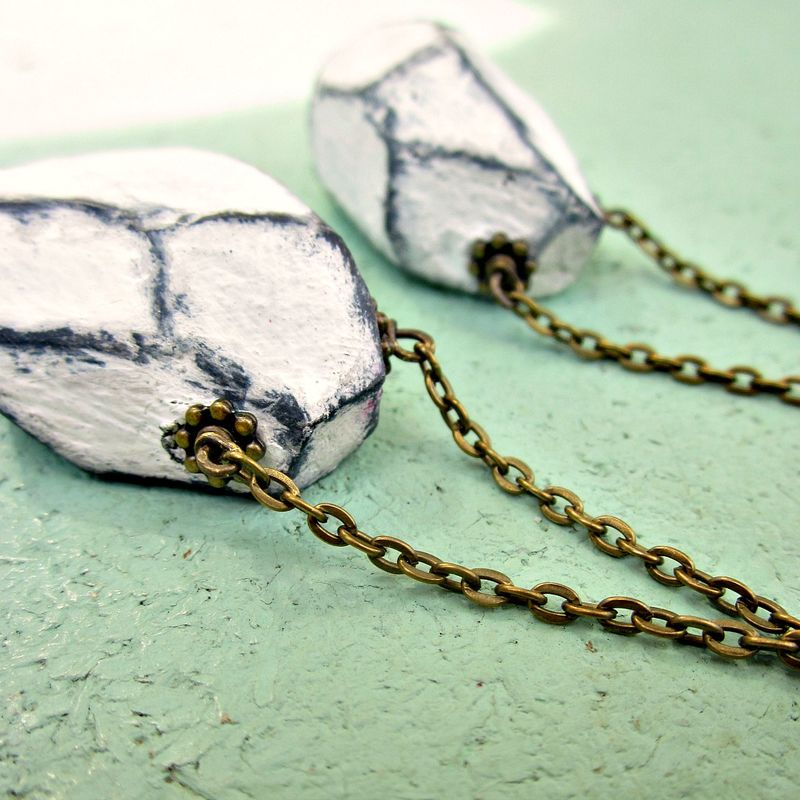 Paper Mache Necklace, Faceted Nugget on Rustic Brass Chain: Beryl - product images  of