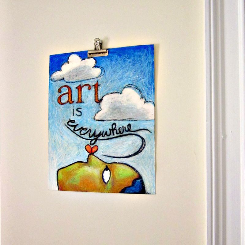 "Drawing, Original Oil Pastel Art with Words ""Art is Everywhere""  - product images  of"
