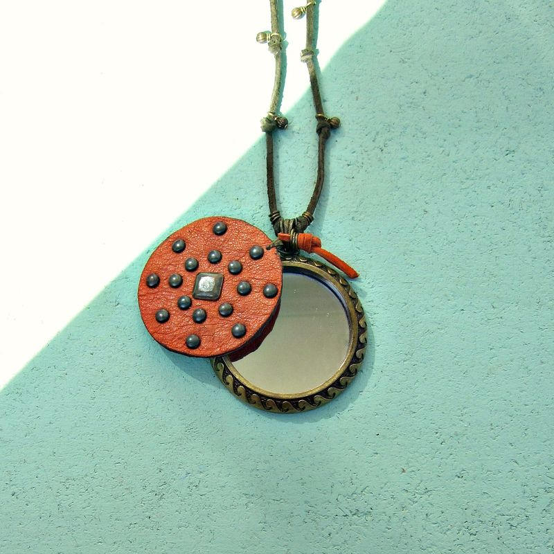 Suede Necklace, Knotted Long Cord with Mirror and Recycled Leather Pendant - product images  of