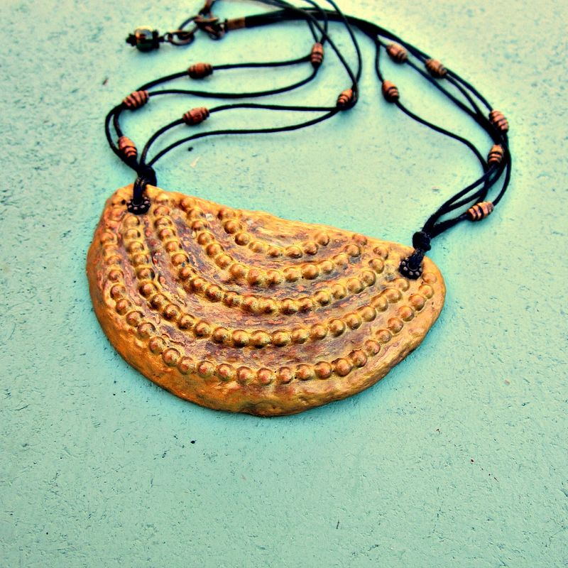Crescent Pendant Necklace, Gold Paper Mache on Cord - product images  of