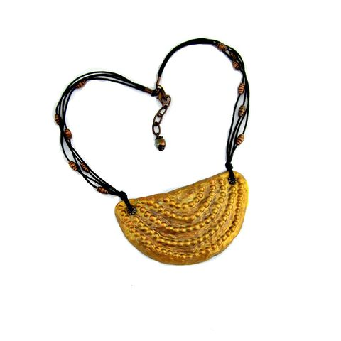 Crescent,Pendant,Necklace,,Gold,Paper,Mache,on,Cord,paper mache bib necklace, gold paper mache crescent pendant necklace, half moon pendant on cord, gold papier mache bib necklace, gold and copper collar necklace