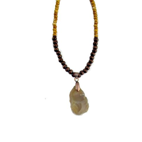 Agate,Pendant,Necklace,with,Wood,and,Glass,Beads,beaded necklace with agate stone pendant, wood and glass beaded pendant necklace, agate necklace, rustic stone glass wood necklace, stone pendant necklace