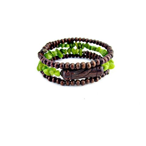 Beaded,Bracelet,with,Dark,Wood,and,Green,Stone,Chips:,Foray,adjustable wood bead bracelet, wood beaded memory wire bracelet, wood bangle bracelet, wood and rustic copper heart bracelet, handmade wood bracelet, hammered heart jewelry, valentine bracelet