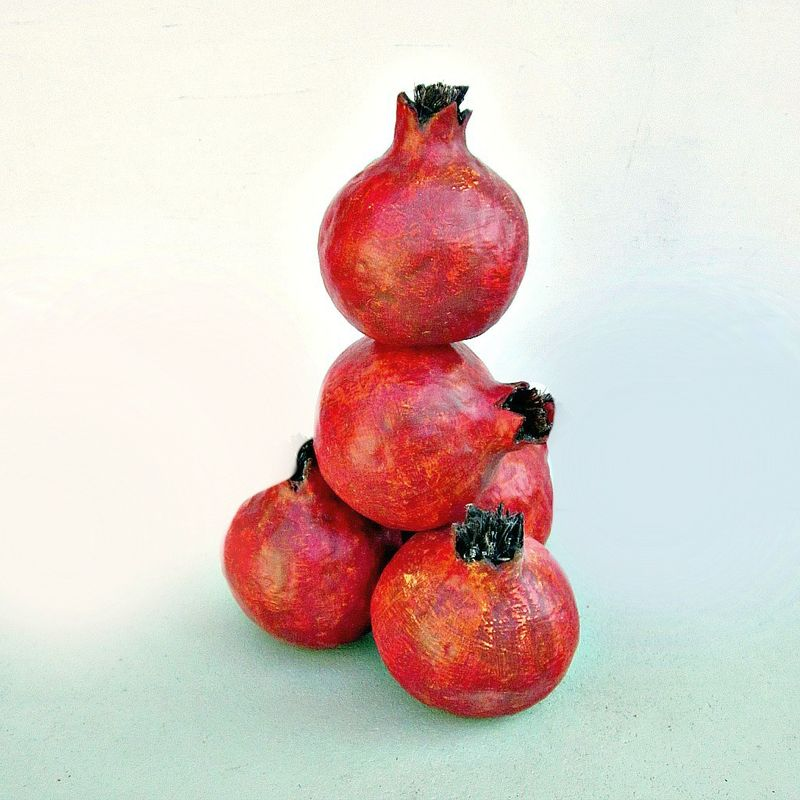 Paper Mache Pomegranate Fruit, Set of Five MADE to ORDER - product images  of