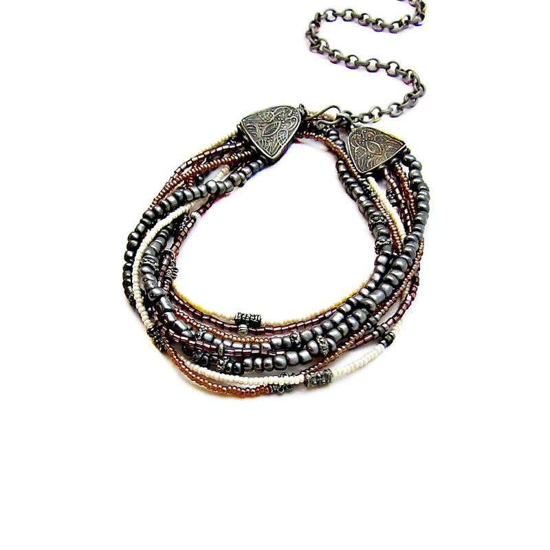 Necklace, Glass Beaded with Adjustable Chain and Rustic Silver Accents - product images  of