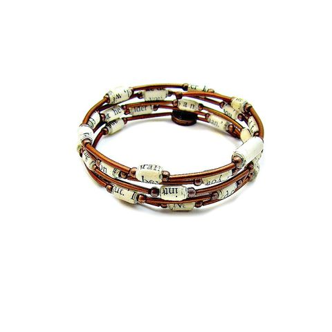Bracelet,,Rustic,Copper,Wrap,Bangle,with,Paper,Bead,Accents,flexible memory wire wrap bracelet with paper beads, bracelet with rustic copper and paper beads, paper beaded rustic copper wrap bangle, adjustable wrap bracelet, copper memory wire bracelet