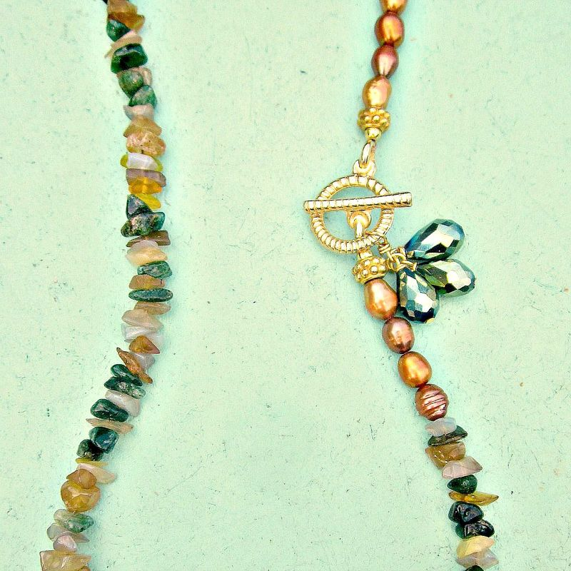 Beaded Stone Chip and Gold Pearl Necklace with Gold Toggle Clasp: Forest - product images  of