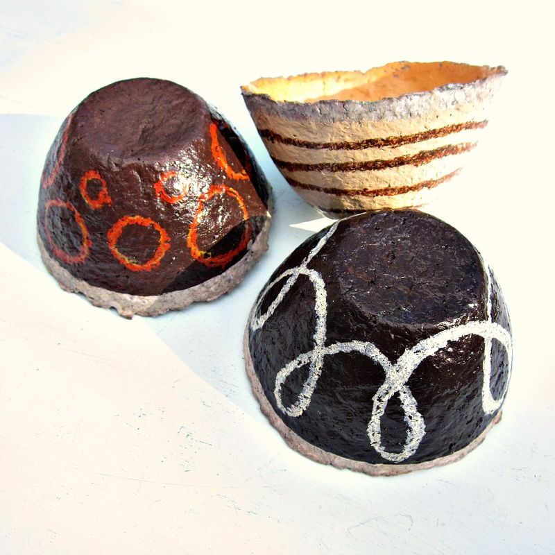 Paper Mache Bowls, Set of Three Mini Bowls in Assorted Browns: Cafe - product images  of