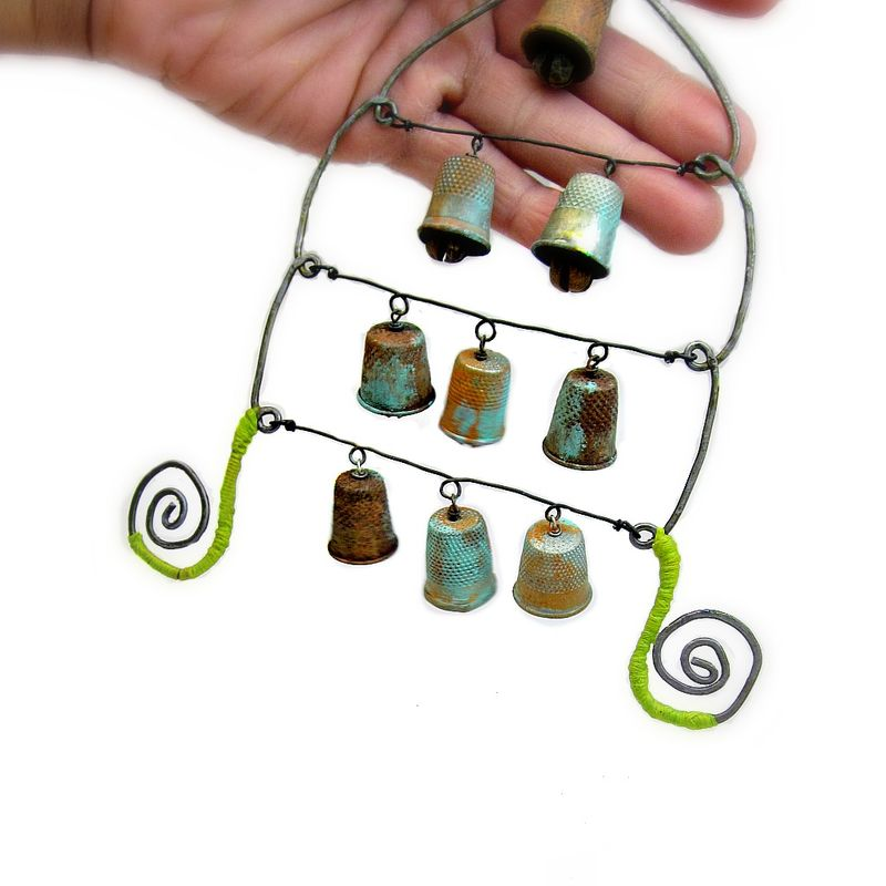 Rustic Wire Chime Sculpture with Thimble Bells: Vestibule - product images  of