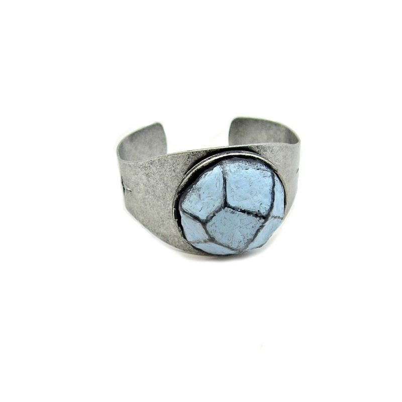 Silver Cuff, Rustic Adjustable Bracelet with Light Blue Faceted Paper Mache Stone: Pierce - product images  of