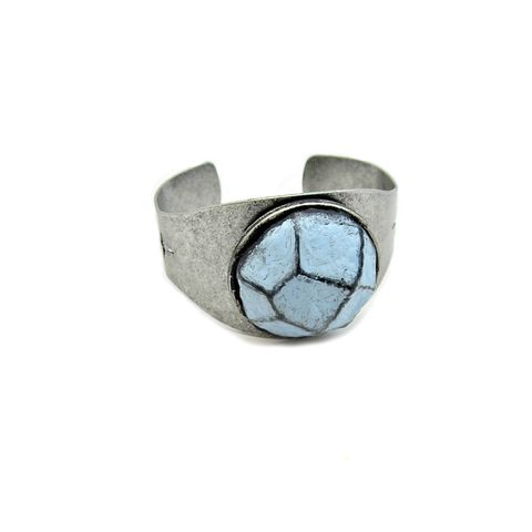 Silver,Cuff,,Rustic,Adjustable,Bracelet,with,Light,Blue,Faceted,Paper,Mache,Stone:,Pierce,adjustable silver cuff bracelet, paper mache cuff bracelet, recycled paper jewelry, handmade papermache jewelry, papier mache bracelet, light blue and silver cuff, modern jewelry