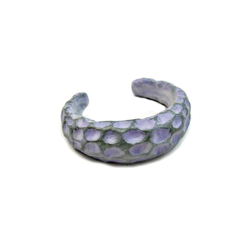Carved Cuff, Lavender Paper Mache Bracelet with Textured Surface: Pressley - product images  of