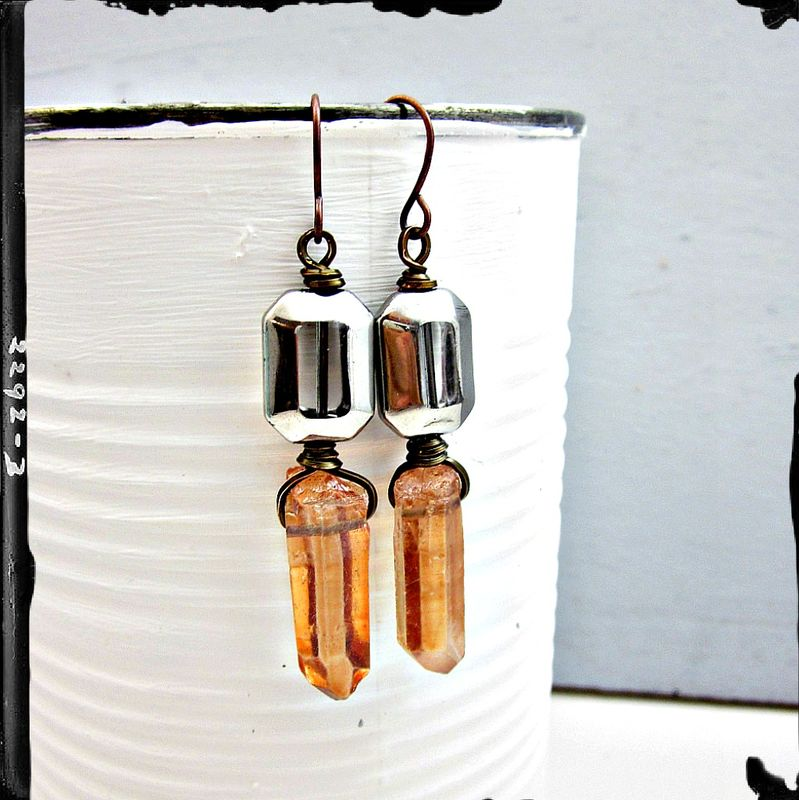 Earrings, Rustic Mixed Metal Copper Dangles with Pink Quartz Crystals and Fire Polished Glass: Priscilla - product images  of