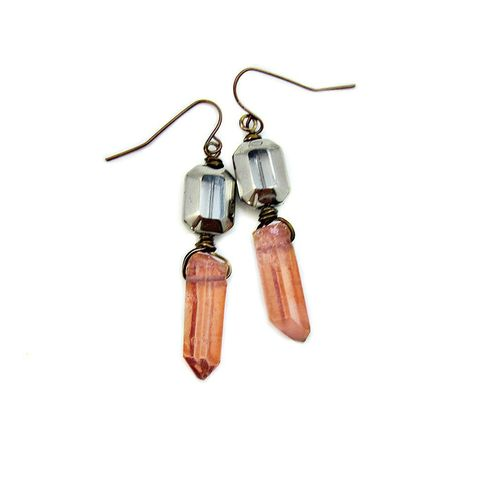 Earrings,,Rustic,Mixed,Metal,Copper,Dangles,with,Pink,Quartz,Crystals,and,Fire,Polished,Glass:,Priscilla,copper dangle earrings, pink crystal and copper jewelry, pink quartz and copper earrings, crystal jewelry, copper jewerly, long dangle earrings, handmade copper jewerly
