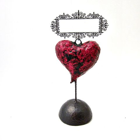 Heart,Photo,and,Noteholder,Keepsake,Papier,Mache,Sculpture:,Flutter,paper mache heart sculpture, papier mache heart recycled paper sculpture, paper mache art, keepsake heart photo note holder sculpture, dark pink heart sculpture, crackled heart sculpture, recycled art, valentine gifts