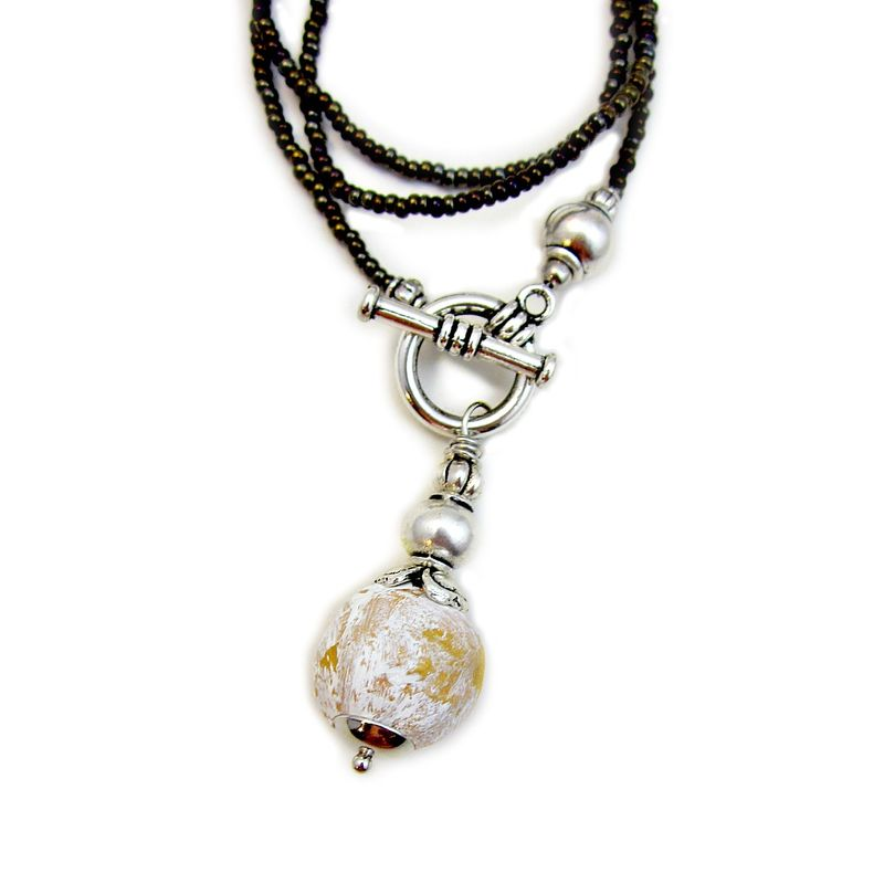 Necklace, Beaded Glass Silver Front Closure Toggle with Paper Mache Pendant: Sita - product images  of