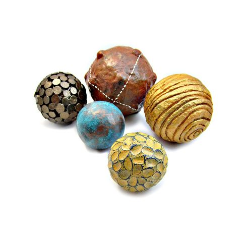 Accent,Balls,,Set,of,Five,Assorted,Texture,Decorative,Paper,Mache,Spheres:,Sherwood,metallic paper mache accent balls, recycled home decor accents, decorative accent spheres, fall themed decorative balls, set of five accent balls, balls for centerpiece bowls, papier mache sculpture for sale