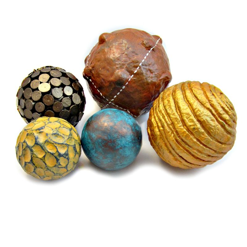 Accent Balls, Set of Five Assorted Texture Decorative Paper Mache Spheres: Sherwood - product images  of