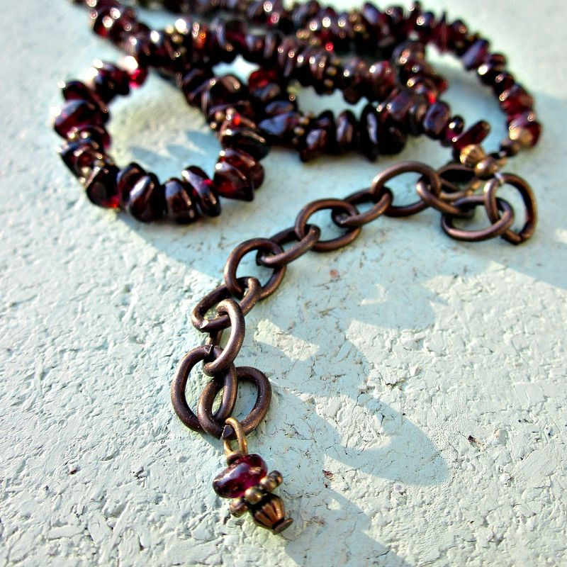 Beaded Adjustable Jasper and Garnet Gemstone Pendant Necklace:  Modern Art - product images  of