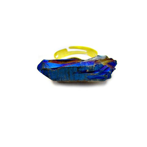 Ring,,Adjustable,Faceted,Blue,Crystal:,Fray,adjustable blue ring, gold ring, chunky crystal ring, quartz ring, statement ring