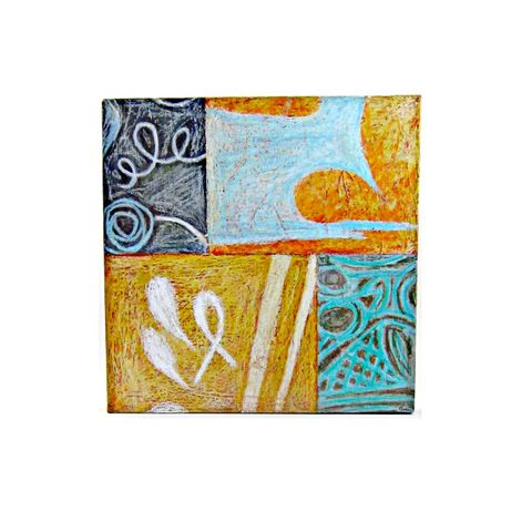Drawing,on,Canvas,,Original,Abstract,Pastel,Sketch:,October,oil pastel art on canvas, original canvas art, one of a kind art on canvas, african american artist, abstract pastel art, blue orange gray pastel art, 12 x 12 canvas, compact canvas art, art for small spaces, colorful original art