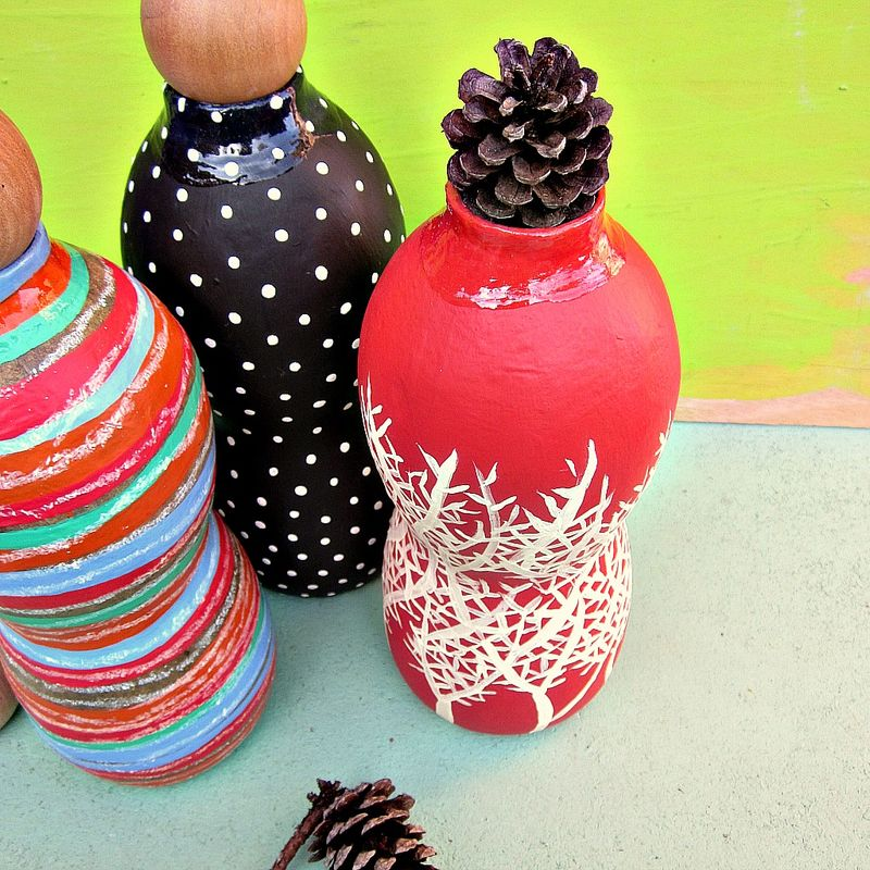 Bottle Vase, Coral and Cream Paper Mache with Wood Cork Stopper: Wave Vessel #3 - product images  of