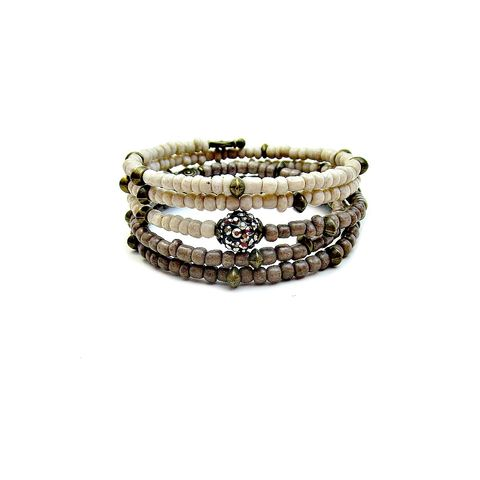 Bracelet,,Flexible,Wrap,Bangle,with,Cream,and,Gray,Glass:,Compass,flexible memory wire wrap bracelet with cream and gray glass, memory wire bracelet, beaded bangle bracelet, cream beaded bracelet, flexible no clasp wrap bracelet, glass bead memory wire bracelet